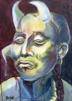 "Saatchi Art Artist Clara de Bobes; Painting, ""Balaam"" #art Human Head, Art Forms, Printmaking, Saatchi Art, Oil On Canvas, Art Decor, Original Paintings, Old Things, Sculpture"