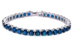 """14.5CT Deep Simulated Blue Sapphire Fashion .925 Sterling Silver Bracelet 7.5"""" long. 7.5"""" long. 5mm. 925 Solid Sterling Silver. blue-sapphire. 14 Grams Heavy."""