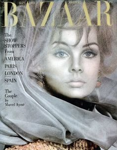 Jean Shrimpton wearing jewelry by Cartier and photographed by David Bailey for the cover of Harper's Bazaar, September 1964.