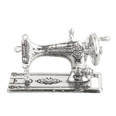 Silver Old-Fashioned Tabletop Sewing Machine