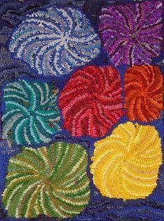 Fireworks Chakra rug Hooked by Frances Ennis
