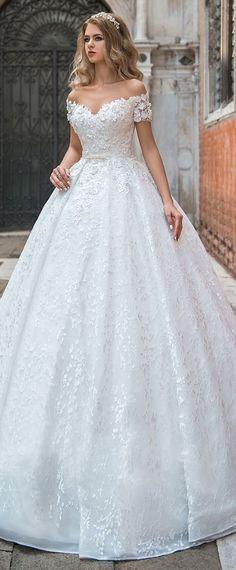 Modest Lace Off-the-shoulder Neckline Ball Gown Wedding Dress With 3D Lace Appliques & Beadings & Belt #weddingdress