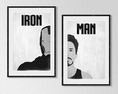 "IRON MAN Inspired Black & White Minimalist Movie Poster Print Set - 13""x19"" (33x48 cm)"