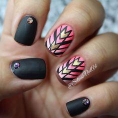 Black Matte Tribal Inspired Nail Art Design