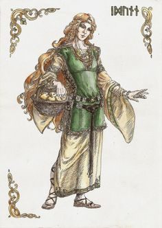 IDUNN - she is the ASYNJUR goddess of youth, wife of BRAGI, god of poetry. She guards the golden apples. These apples are eaten by the Norse gods to let them live until RAGNAROK, the battle of the end of the world.