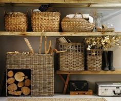 HomeGoods | Organization Ideas to Kick Off the New Year  I love the look of natural wood shelves with baskets.