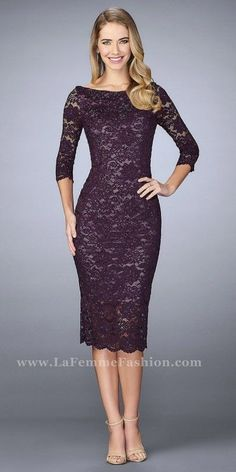 La Femme Fitted Beaded Lace Three-quarter Sleeve Cocktail Dress