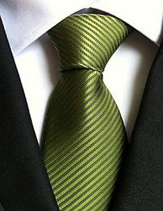 Men Wedding Cocktail Necktie At Work Green Colors Tie – USD $ 4.99