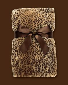 Beautiful Leopard Pattern Blanket with Brown Satin Bow.
