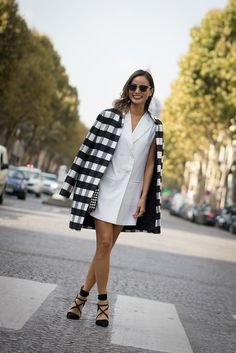 Finders Keepers checkered coat, Lovers + Friends dress, Rebecca Minkoff heels, Ray Bans // What the Chung?