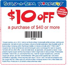 10 off purchase at build a bear coupon
