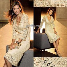 Crochet dress by Karen Millen.  Description and diagrams.  Beautiful, but probably far above my pay grade.   :)