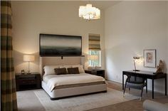 Airy Contemporary Bedroom by Mark Cravotta soothing pallette.  Needs different drape pattern