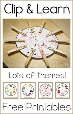 Clip and Learn Printables {free} ~ use clothespins to practice early learning skills