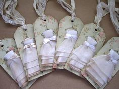 Shabby Chic Bridesmaid Chipboard Gift Tags Set by AnneMariePaperie, via Etsy.