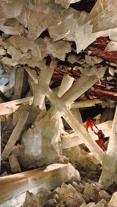 Crystal Cave - Mexico  These crystals are Selenite.  Nat Geo has a really cool documentary on them!