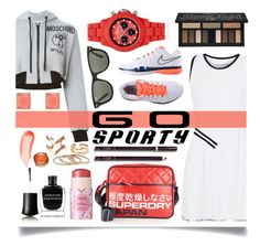 """Go Sporty!"" by ittie-kittie ❤ liked on Polyvore featuring Monreal, NIKE, Moschino, Superdry, Tom Ford, Kat Von D, Ray-Ban, Toy Watch, Chloe + Isabel and tarte"