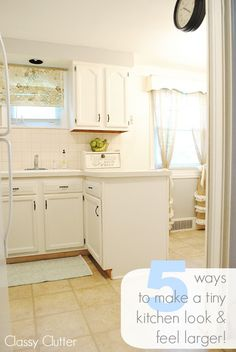 5 ways to make a tiny kitchen look and feel larger! Check out this tiny room makeover! Awesome before and afters!