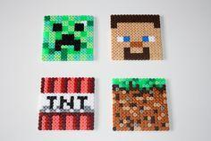 Ensemble de 4 sous-verre Minecraft. Hama perles minecraft perler. SNES sur Etsy, $15.65 CAD
