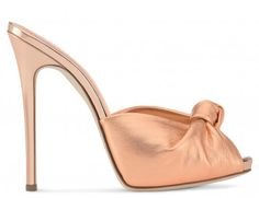 Giuseppe Zanotti Sandals - BRIDGET - Rose Gold Laminated Leather Women's Mule Sandal