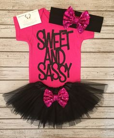 A personal favorite from my Etsy shop https://www.etsy.com/listing/483370391/sweet-and-sassy-baby-girl-bodysuit-sweet