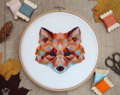 Fox Cross Stitch Pattern, Geometric Animals Cross Stitch, Cute Fox Embroidery, Nursery Wall Decor, Woodland, PDF Format, Instant Download