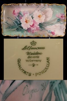 Pink & White Carnations Bavarian Tray /  This is a magically hand painted Bavaria Dresser Tray which is hand dated '81 and signed by the phenomenally talented American floral artist: Alzorra. It is a very delicately rendered china painting of carnations, upon a mint green and soft white background wash of color, highlighted with a Roman Gold edge and elegantly detailed gold scroll work /800
