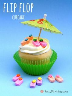 Cute candy flip flop cupcake toppers tutorial by PartyPinching.com super cute summer cupcakes, fun for a beach party!