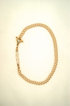Pearl and antique watch chain necklace by Ex Voto Vintage Jewelry