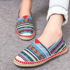 Colorful Tribal Print Striped Slip On Loafers Flat