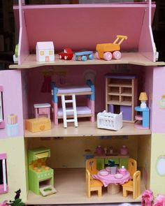 My First Dreamhouse - This gorgeous house is fully painted and decorated with heart motif opening shutters and windows – size 440 wide x 350 deep x 630 high. Shutters, Kids Toys, Furniture Sets, Toddler Bed, Windows, Deep, Children, Heart, House