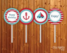 Nautical Party PRINTABLE Birthday Party Circles by mypartydesign