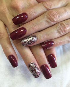 40 + burgundy design for long nails Mary Johnson, Long Nails, Manicure, Nail Designs, Burgundy, Nail Art, Beads, Finger Nails, Fingernail Designs