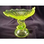 eBay Image 1 L. G. Wright Vaseline Glass Dolphin Compote