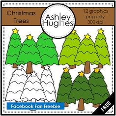 FREE Christmas Trees {clipart for commercial use}