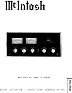 mcintosh mc 250 service manual