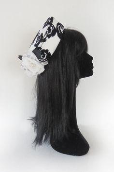 Dutch design black and white pillbox hat on by MarcusArtandFashion