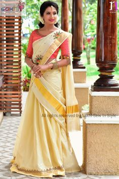 Onam Saree, Kasavu Saree, Half Saree Lehenga, Kerala Saree Blouse Designs, Half Saree Designs, Kerala Engagement Dress, Engagement Dresses, Set Saree Kerala, Saree Hairstyles