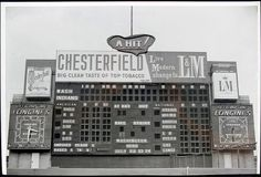 """""""This shot from Cleveland Municipal Stadium could have only been during a 3 year period, which 3 years? Baseball Scoreboard, Metal Baseball Cleats, Baseball Live, Baseball Park, Orioles Baseball, Braves Baseball, Baseball Jerseys, Cleveland Indians Baseball, Cleveland Ohio"""
