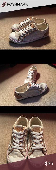 Coach Beige & Tan Monogrammed Sneakers sz8.5 Inside heels have acouple tears. Leather Trim. Sz 8.5. Rubber Soles Coach Shoes Sneakers