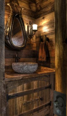 Marvelous Beautiful rustic cabin powder room – Land's End Development – Get a load of mirror. The post Beautiful rustic cabin powder room – Land's End Development – Get a load of m . Rustic Bathroom Sinks, Western Bathrooms, Rustic Bathroom Designs, Bathroom Ideas, Primitive Bathrooms, Vanity Bathroom, Small Bathroom, Log Cabin Bathrooms, Basement Bathroom