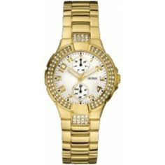 Guess LGuess Women's Gold Gold Tone Stainles-Steel Quartz Watch with White Dial Luxury Watches, Rolex Watches, Rose Gold Watches, Watch Model, Cool Things To Buy, Stuff To Buy, Stainless Steel Watch, Quartz Watch, Fashion Watches