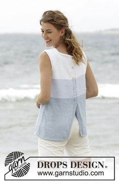 "Free Pattern ""Knitted DROPS top with stripes and button band at the back in ""Paris""."", ""Should you appreciate arts and crafts an individual will appreci Summer Knitting, Free Knitting, Sweater Knitting Patterns, Knit Patterns, Drops Patterns, Drops Design, Knit Or Crochet, Pulls, Sweaters For Women"