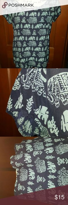 LUCKY BRAND BLOUSE SIZE M Adorable Lucky Brand blouse navy blue with teal elephants. Will be perfect for summer with white shorts or a pair of jeans. In perfect condition no holes or rips or stain. Lucky Brand Tops Blouses