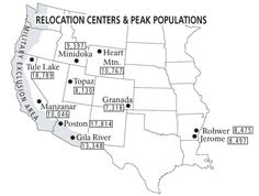 Map showing the locations of all ten Relocation Centers for deported Japanese-Americans with figures showing each camp's maximum population during the war. | World War II Database