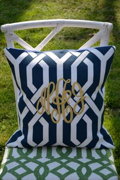 cute monogrammed pillow