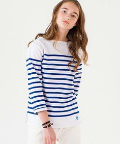 ORCIVAL(オーシバル)の【ORCIVAL(オーシバル)】ラッセル フレンチセーラーTシャツ WHT/BLU(Tシャツ/カットソー)|ホワイト×ブルー ¥11,880税込
