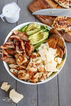 SKINNY CHICKEN AND AVOCADO CAESAR SALAD http://cafedelites.com/2015/03/10/skinny-chicken-and-avocado-caesar-salad/