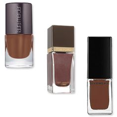 Chocolate  Looking to switch up the tawny nude hues you loved during spring and summer? Swipe on the decadent chocolate hues like Laura Mercier's Cocoa Suede ($18; lauramercier.com) and Givenchy's Delicate Brown ($17; sephora.com), which are an edgier take on the neutral shade. Another great option: Tom Ford's Nail Lacquer in Minx ($30; saks.com), which has warm red undertones and sparkly silver glitters mixed into the formula.