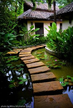 Beautiful stone path across a koi pond in a japanese garden Garden Paths, Garden Landscaping, Landscaping Ideas, Herb Garden, Garden Pond, Garden Bridge, Japanese Garden Backyard, Walkway Garden, Balinese Garden